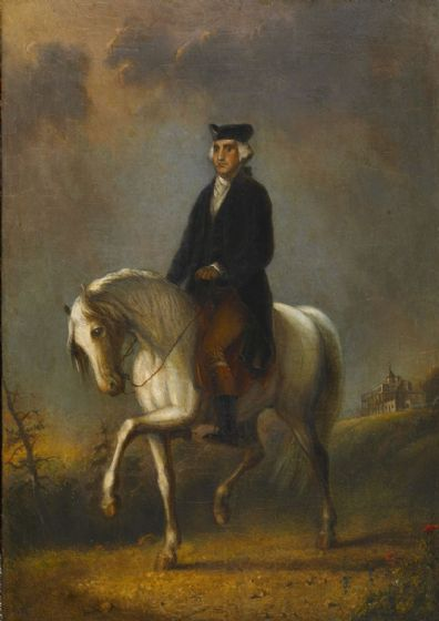 Miller, Alfred Jacob: George Washington at Mount Vernon. Fine Art Print/Poster. Sizes: A4/A3/A2/A1 (003851)